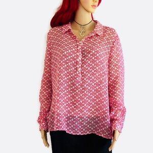 Liz Claiborne woman's, Hi-low, long sleeve blouse